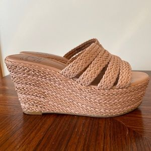 Lucky Brand Natural Havana Wedges Size 8